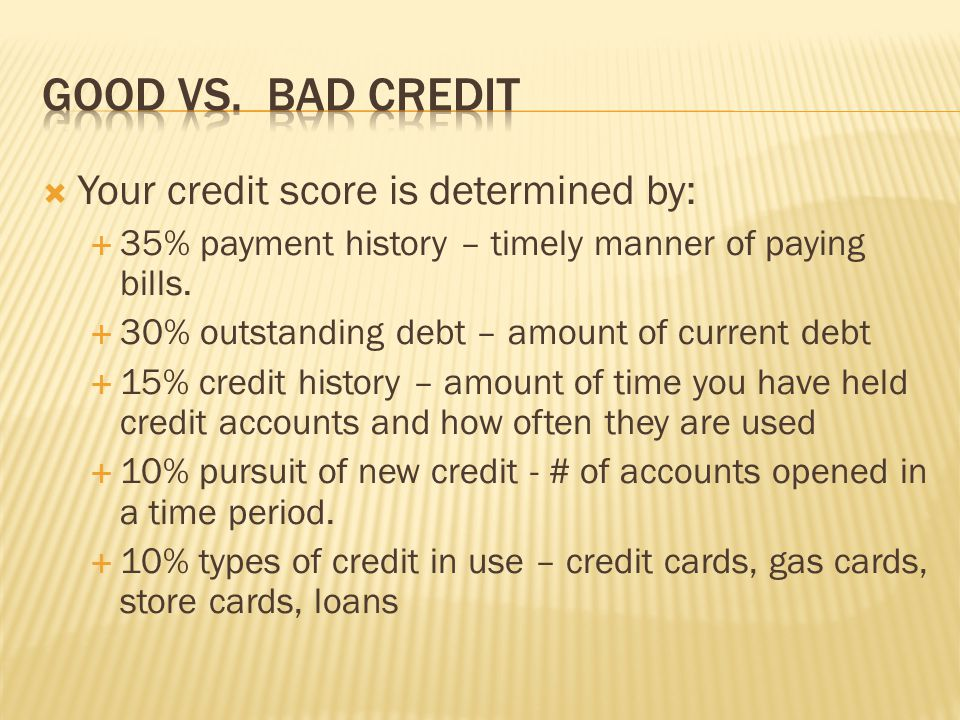 Good vs. Bad Credit Your credit score is determined by:
