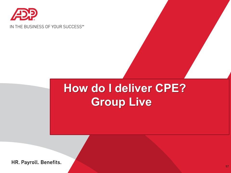 How do I deliver CPE Group Live