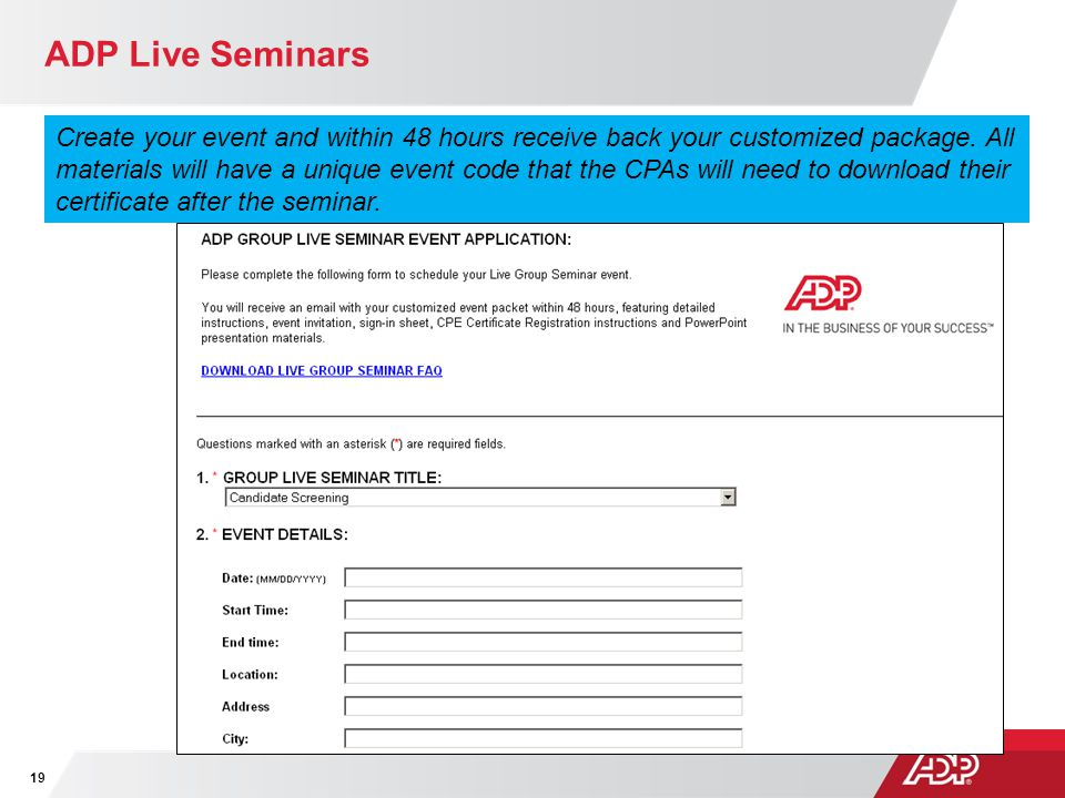 ADP Live Seminars