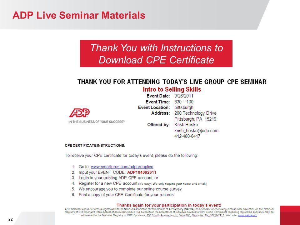 ADP Live Seminar Materials