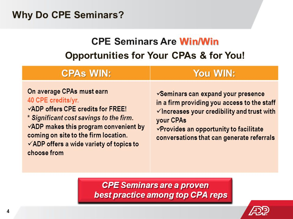 CPE Seminars Are Win/Win Opportunities for Your CPAs & for You!