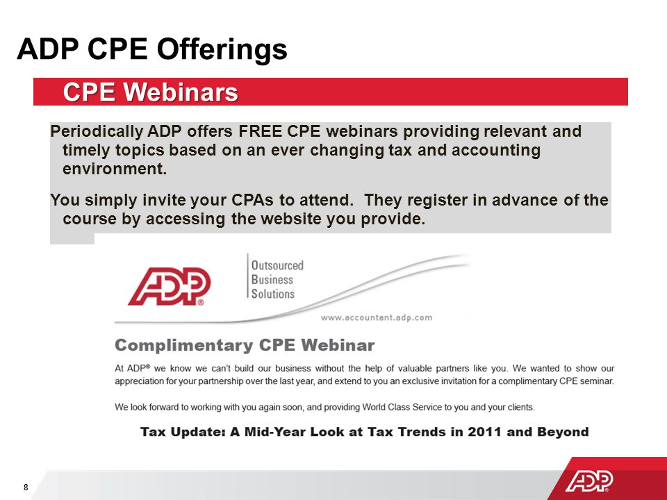 ADP CPE Offerings CPE Webinars