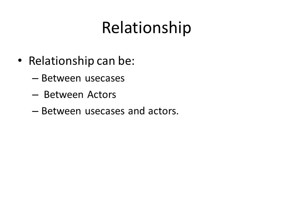Relationship Relationship can be: Between usecases Between Actors