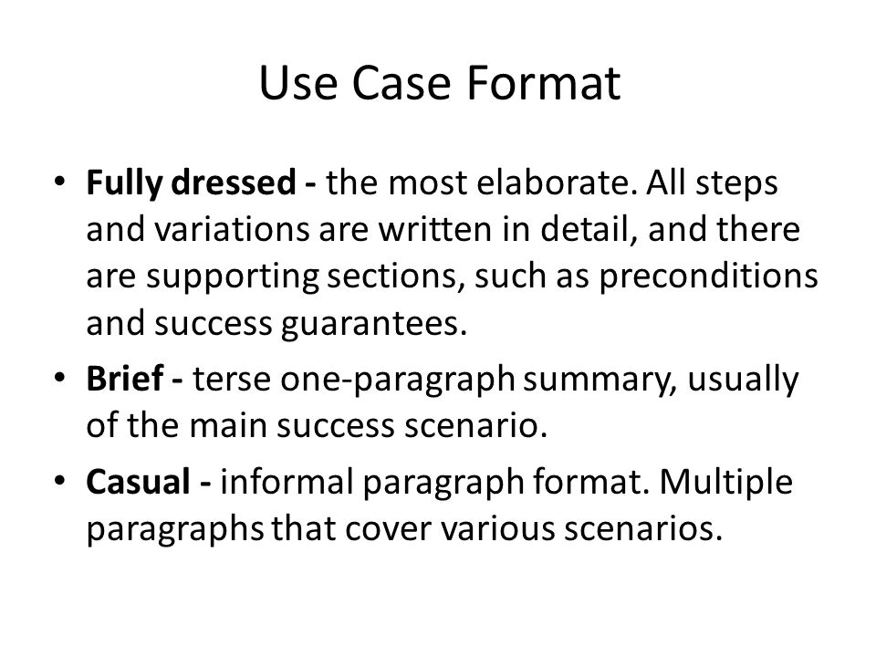Use Case Format