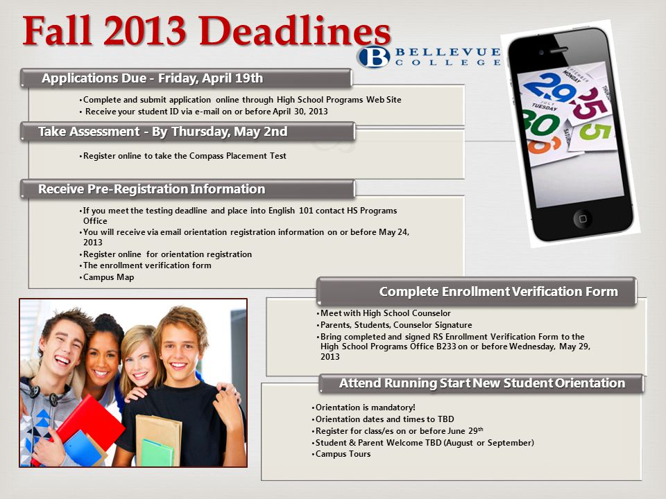 Fall 2013 Deadlines Applications Due - Friday, April 19th