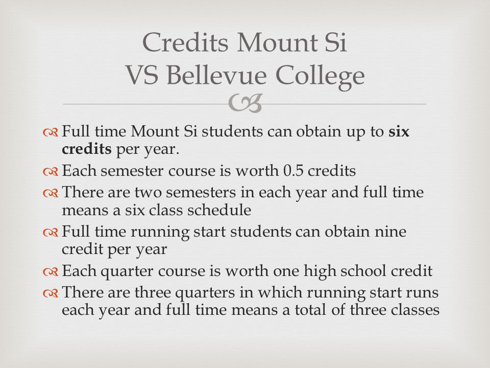 Credits Mount Si VS Bellevue College