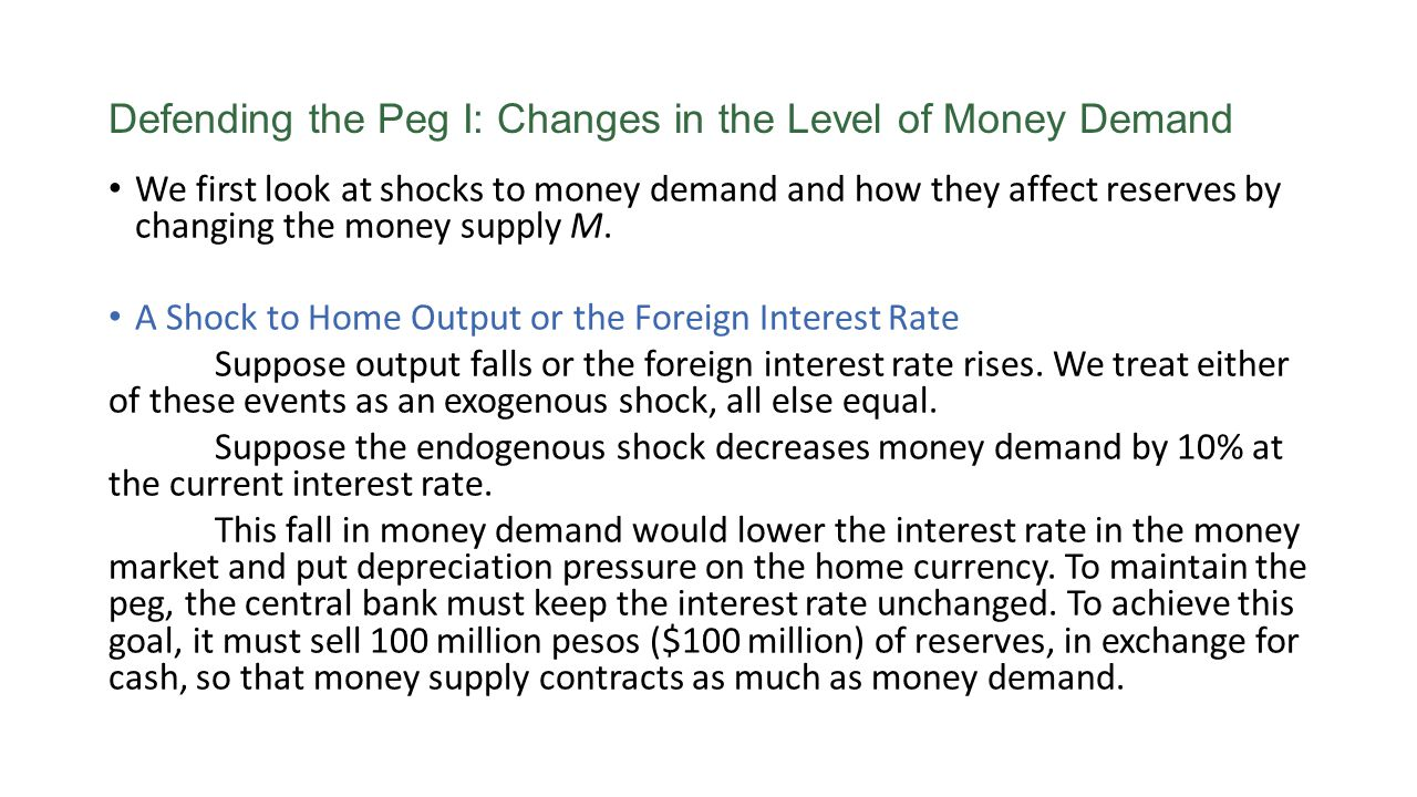 Defending the Peg I: Changes in the Level of Money Demand