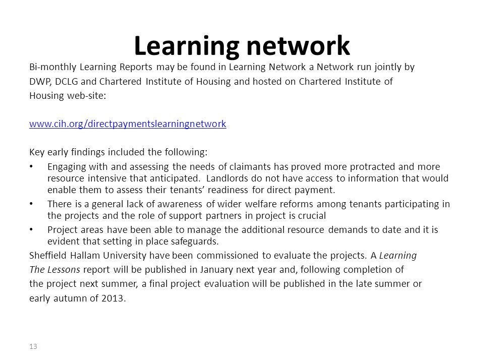 Learning network Bi-monthly Learning Reports may be found in Learning Network a Network run jointly by.