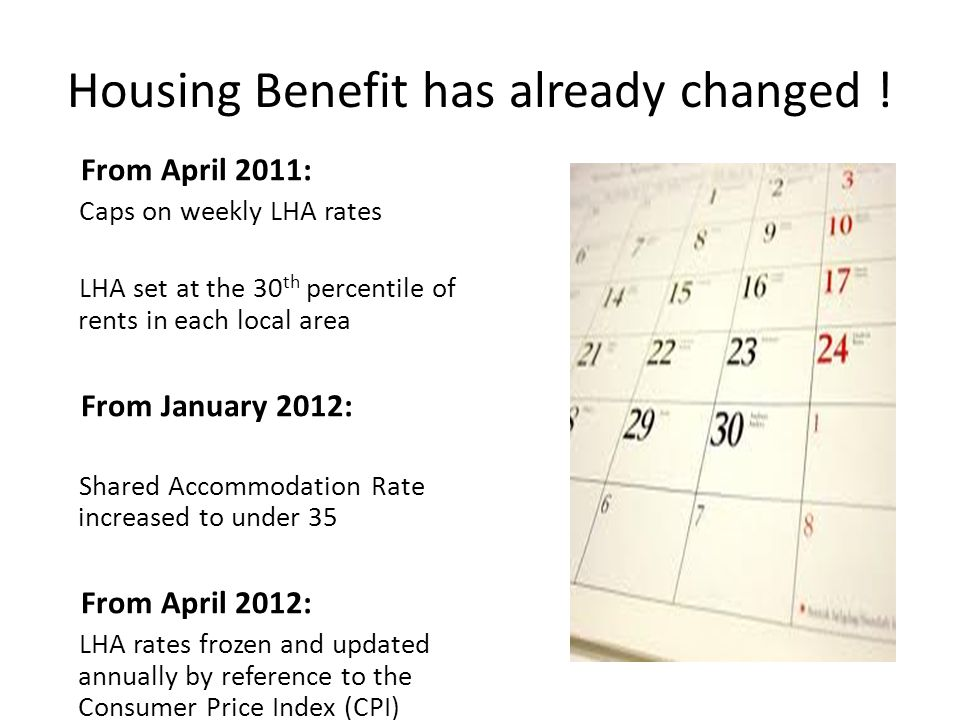 Housing Benefit has already changed !