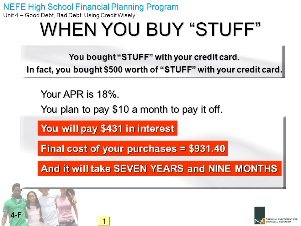 WHEN YOU BUY STUFF Your APR is 18%.