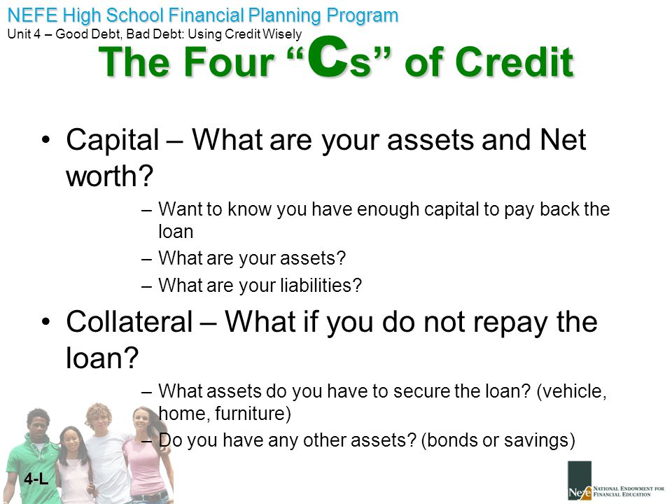 The Four Cs of Credit Capital – What are your assets and Net worth