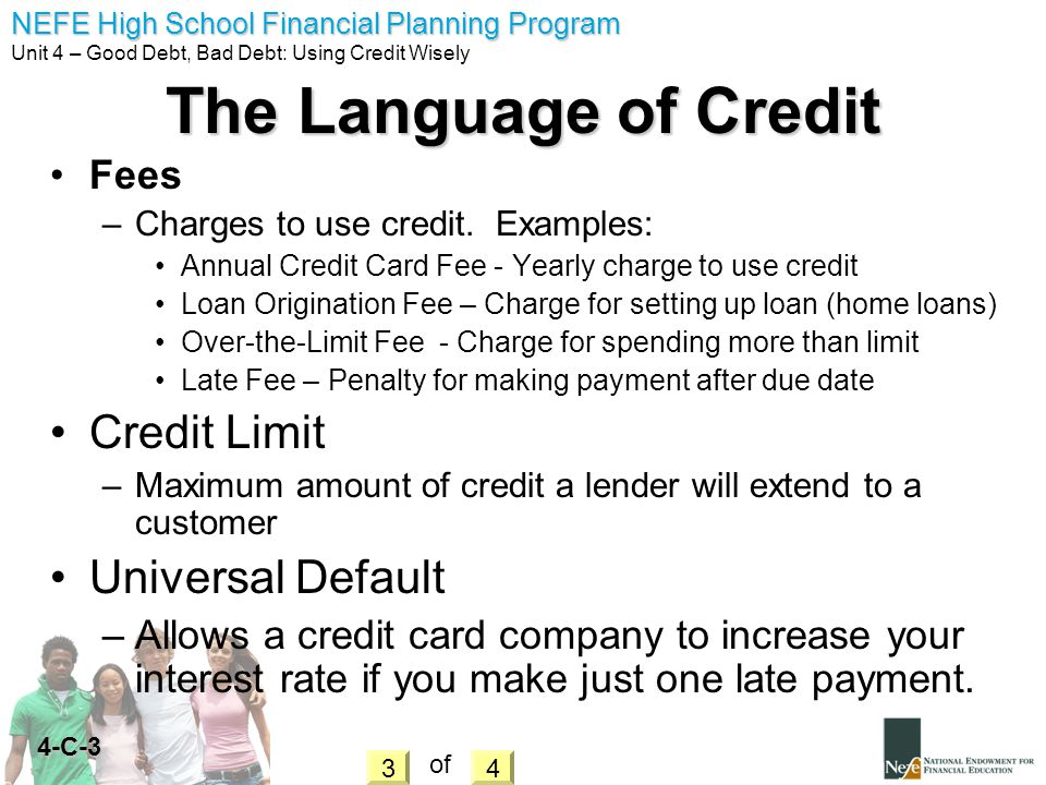 The Language of Credit Credit Limit Universal Default Fees