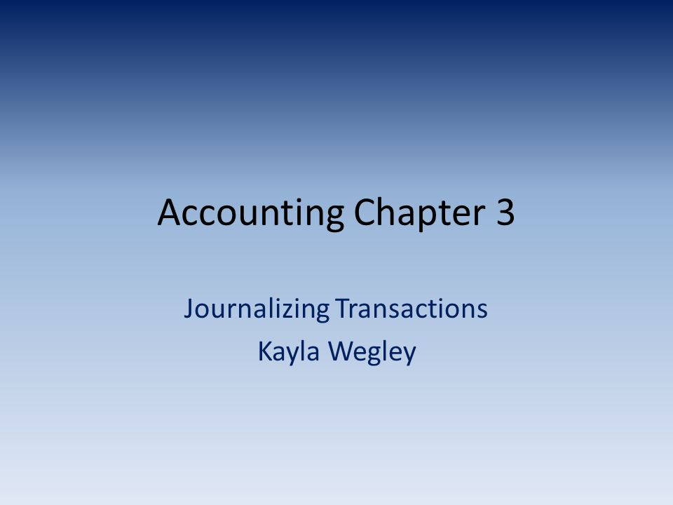 Journalizing Transactions Kayla Wegley