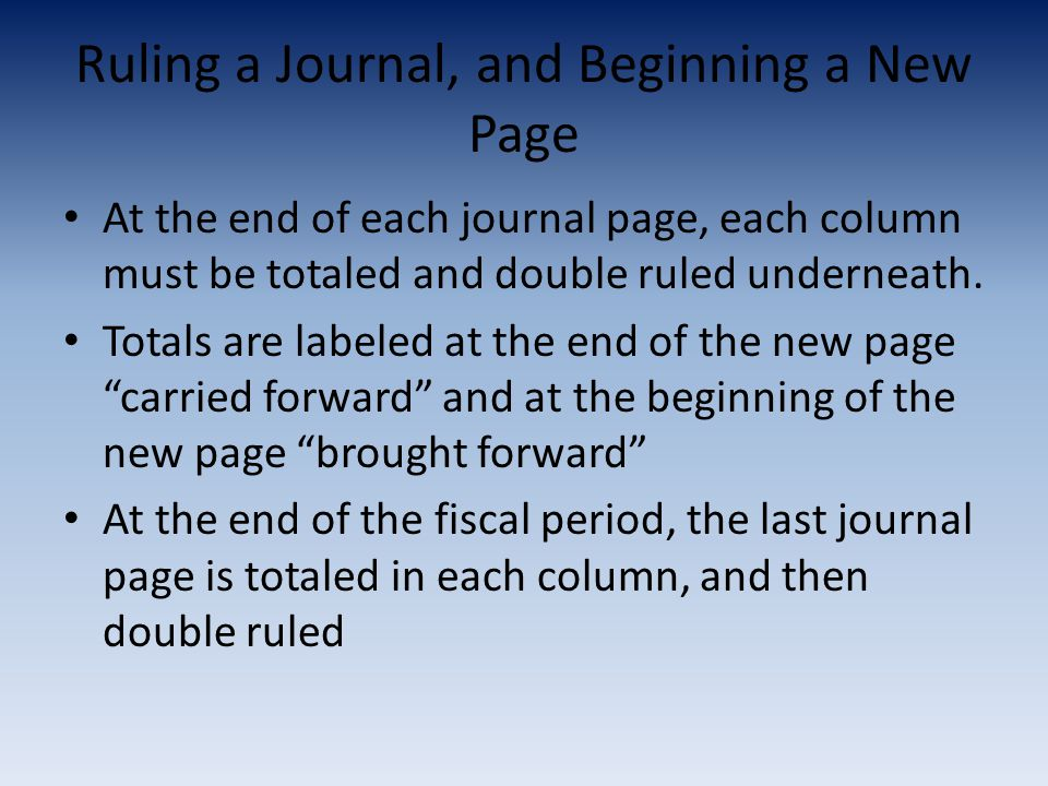 Ruling a Journal, and Beginning a New Page