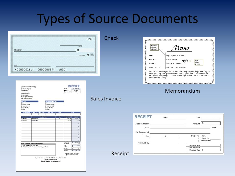 Types of Source Documents