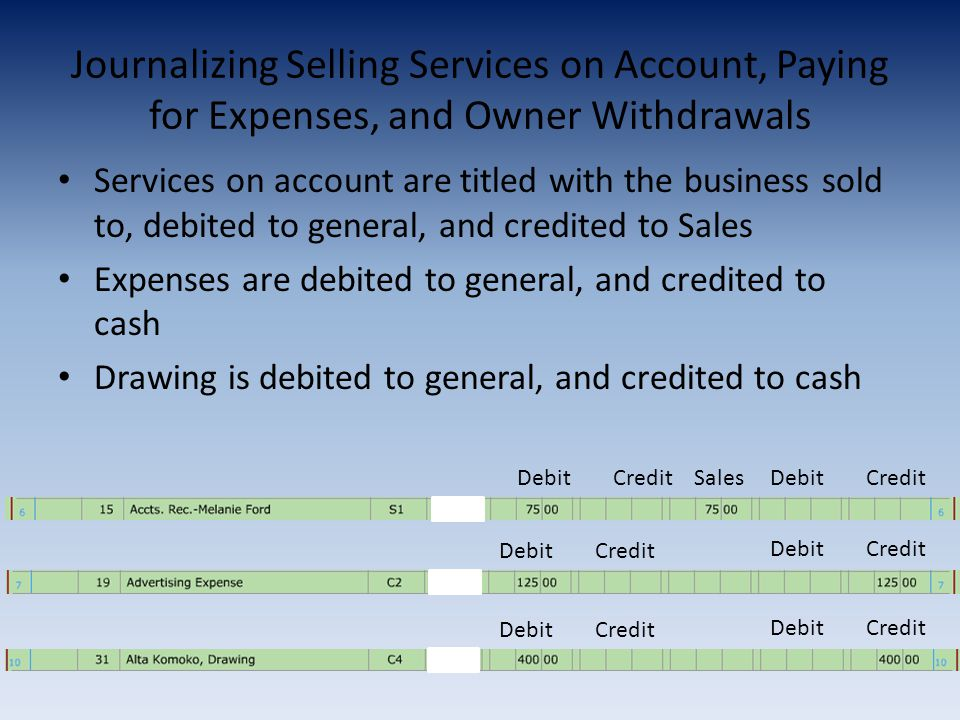 Journalizing Selling Services on Account, Paying for Expenses, and Owner Withdrawals