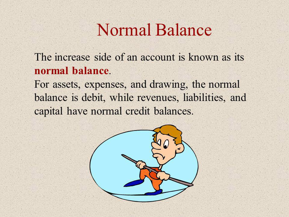 Normal Balance The increase side of an account is known as its normal balance.