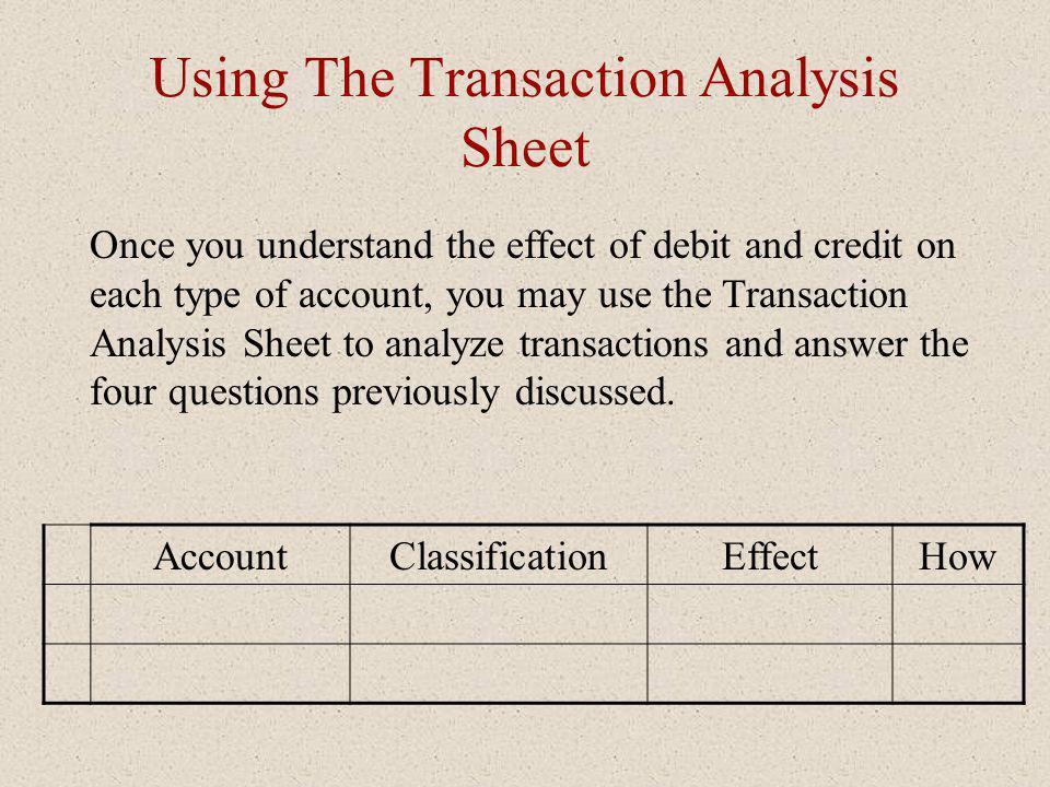 Using The Transaction Analysis Sheet