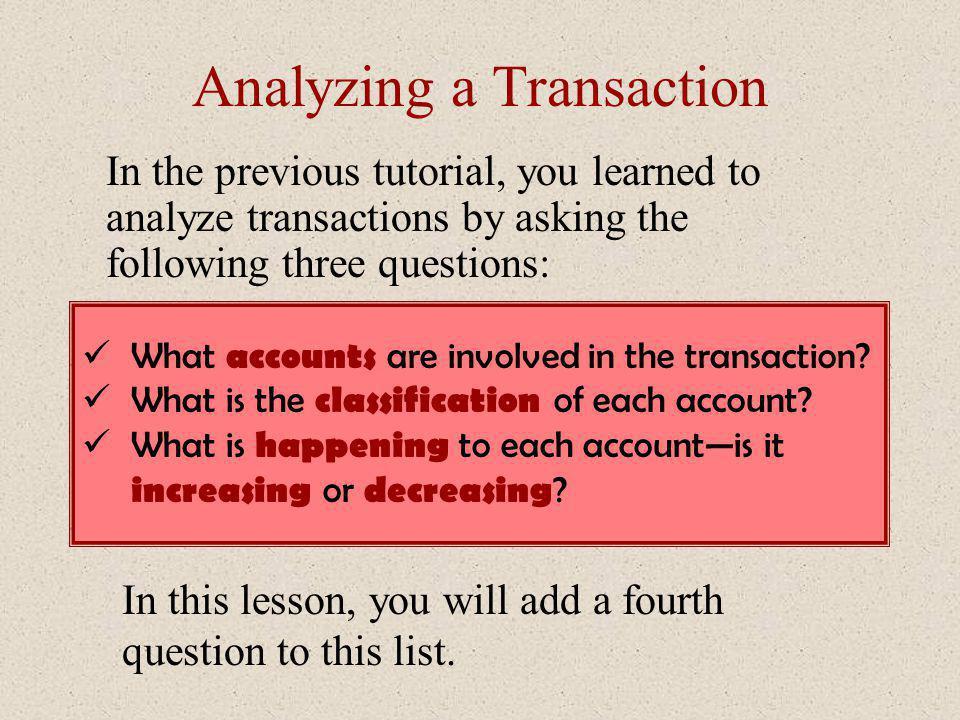 Analyzing a Transaction