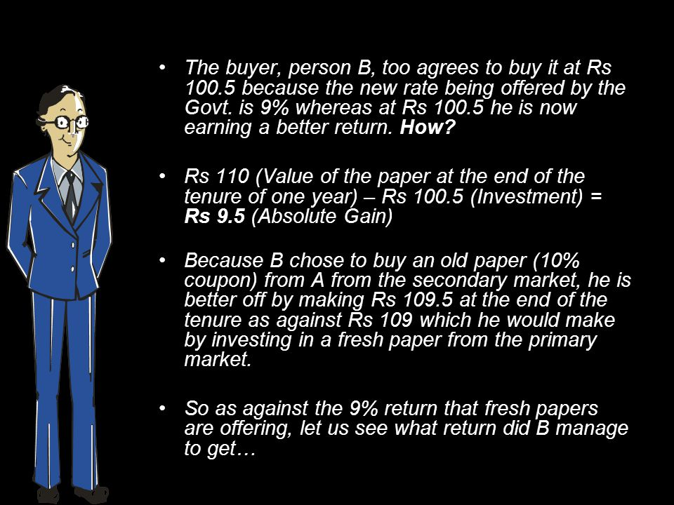 The buyer, person B, too agrees to buy it at Rs 100