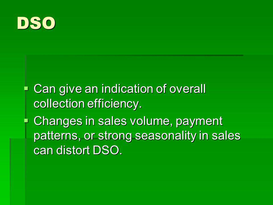 DSO Can give an indication of overall collection efficiency.