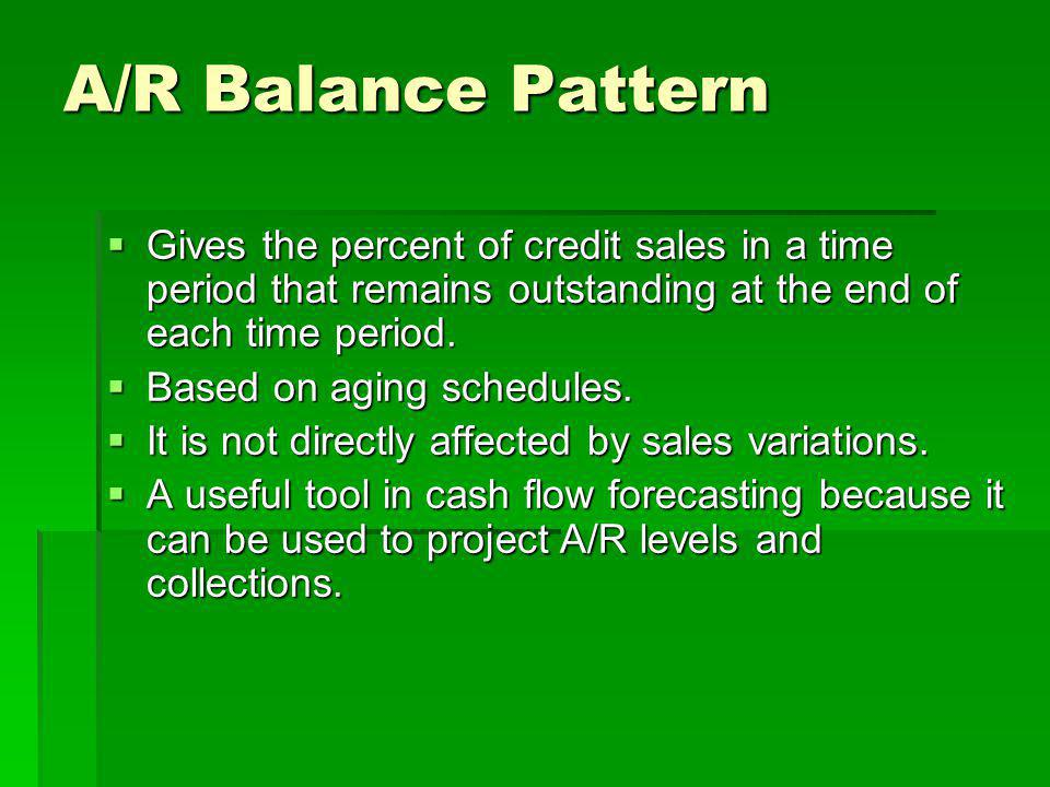 A/R Balance Pattern Gives the percent of credit sales in a time period that remains outstanding at the end of each time period.