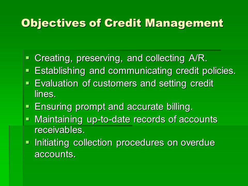 Objectives of Credit Management