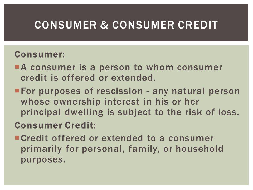 Consumer & Consumer Credit