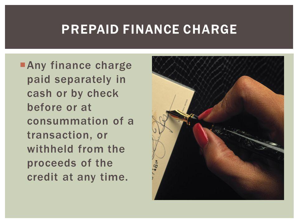 Prepaid Finance Charge