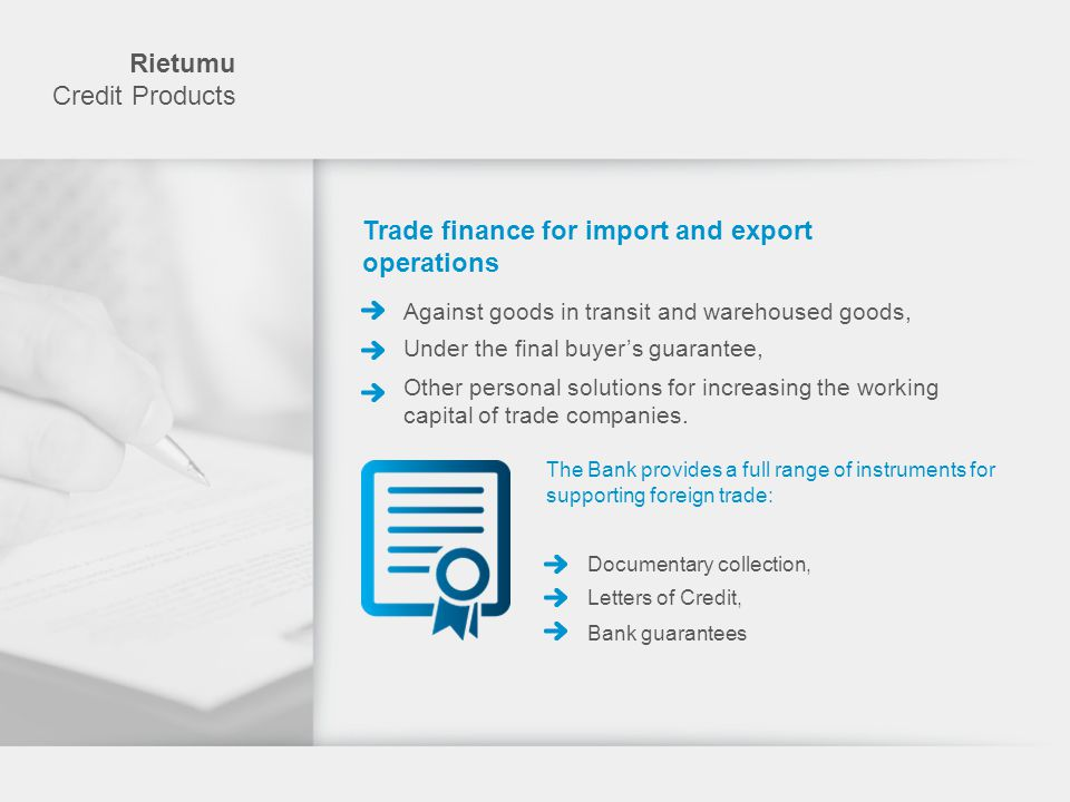 Trade finance for import and export operations