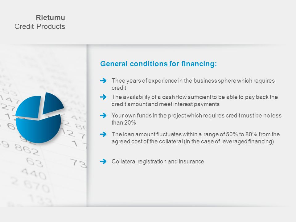 General conditions for financing: