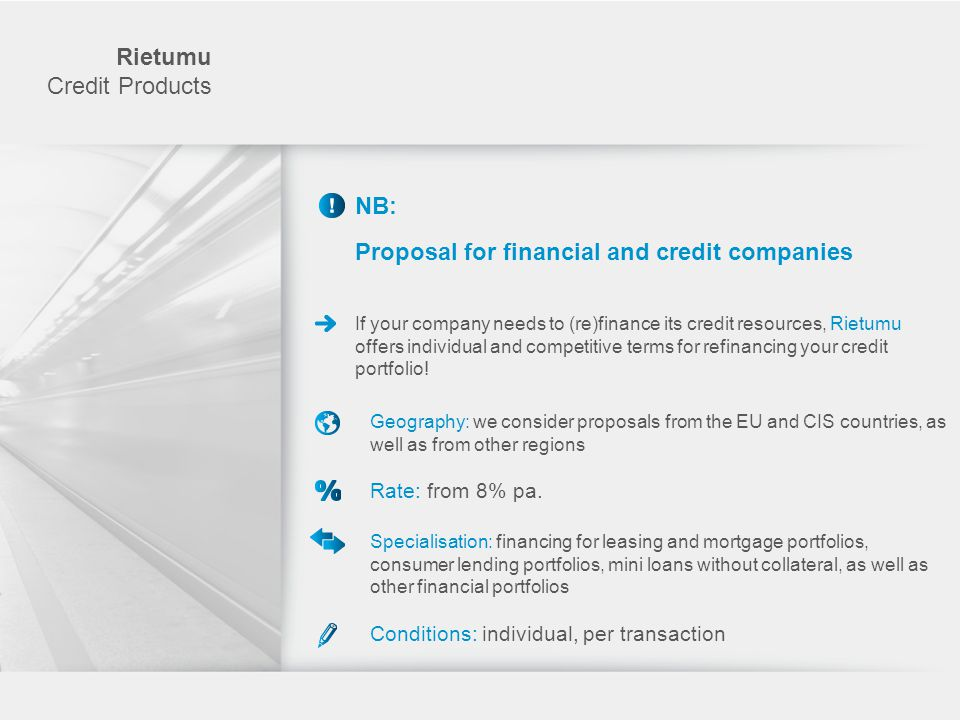 Proposal for financial and credit companies