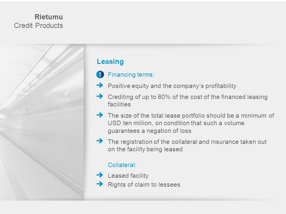 Rietumu Credit Products Leasing Financing terms: