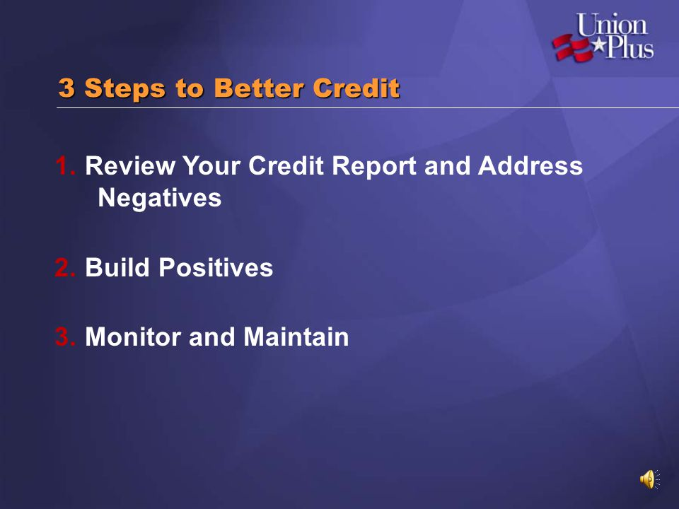 3 Steps to Better Credit Review Your Credit Report and Address Negatives.