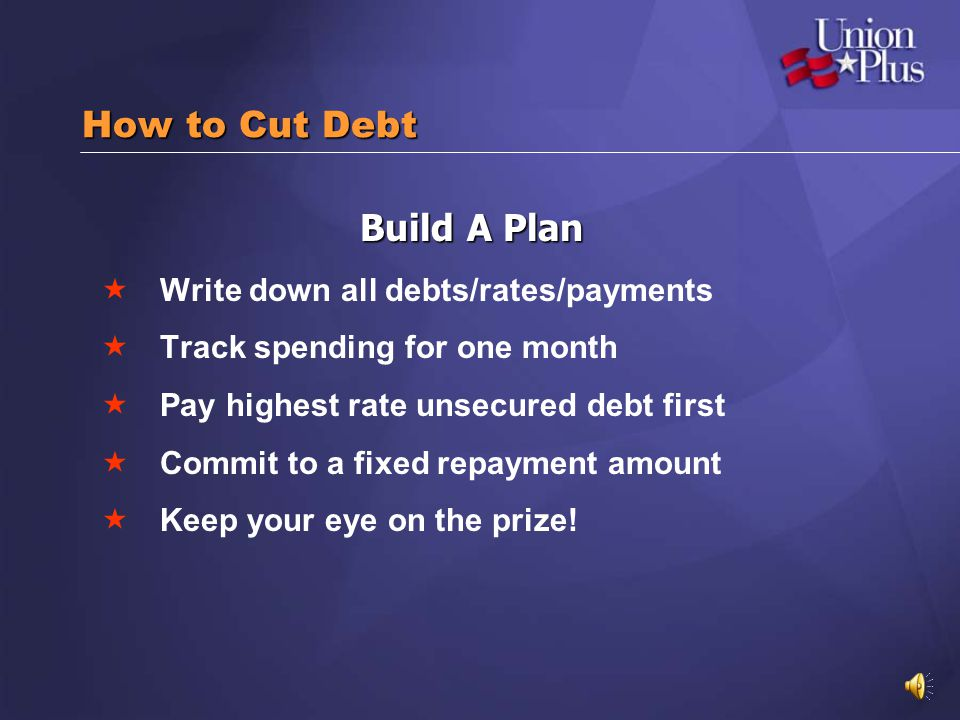 How to Cut Debt Build A Plan Write down all debts/rates/payments