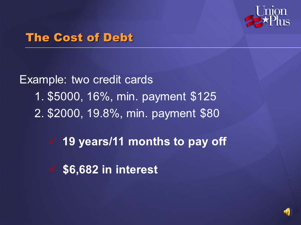 Example: two credit cards 1. $5000, 16%, min. payment $125