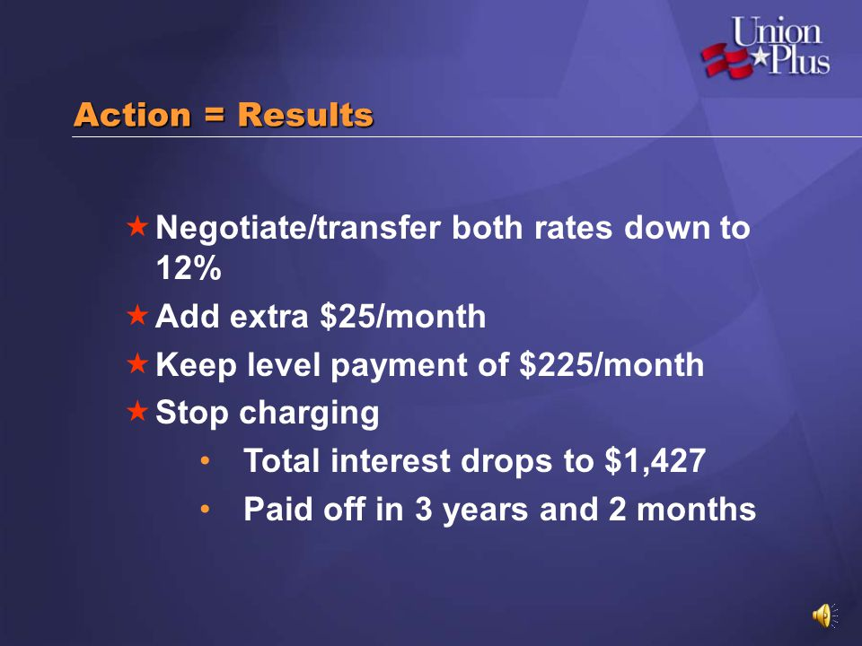 Action = Results Negotiate/transfer both rates down to 12% Add extra $25/month. Keep level payment of $225/month.