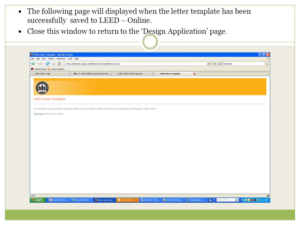 The following page will displayed when the letter template has been successfully saved to LEED – Online.