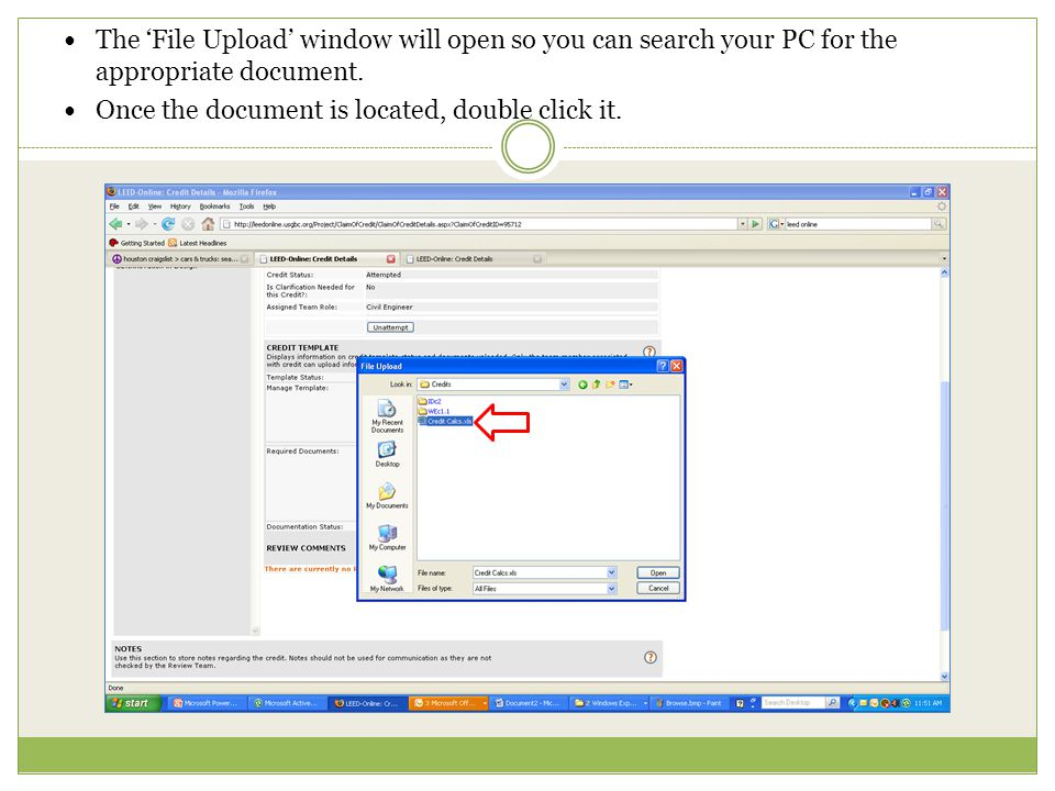 The 'File Upload' window will open so you can search your PC for the appropriate document.