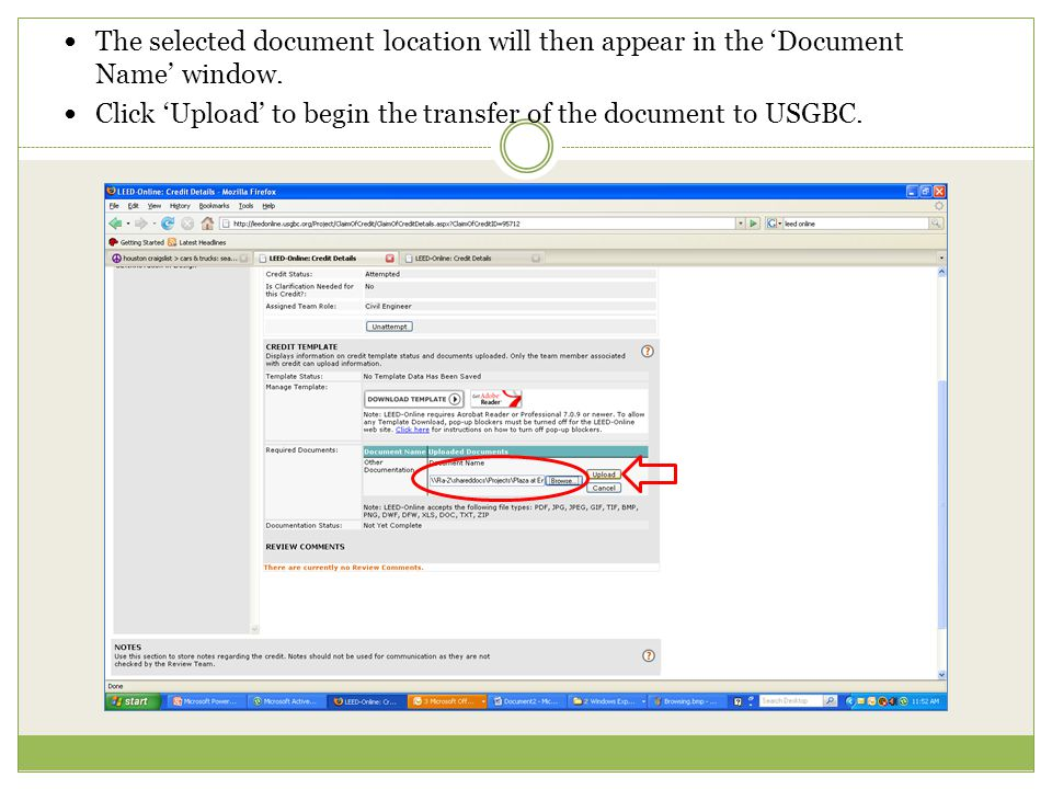 The selected document location will then appear in the 'Document Name' window.