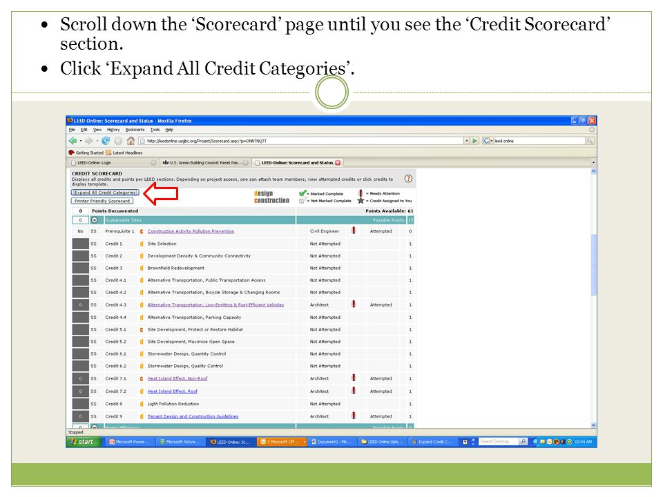 Scroll down the 'Scorecard' page until you see the 'Credit Scorecard' section.