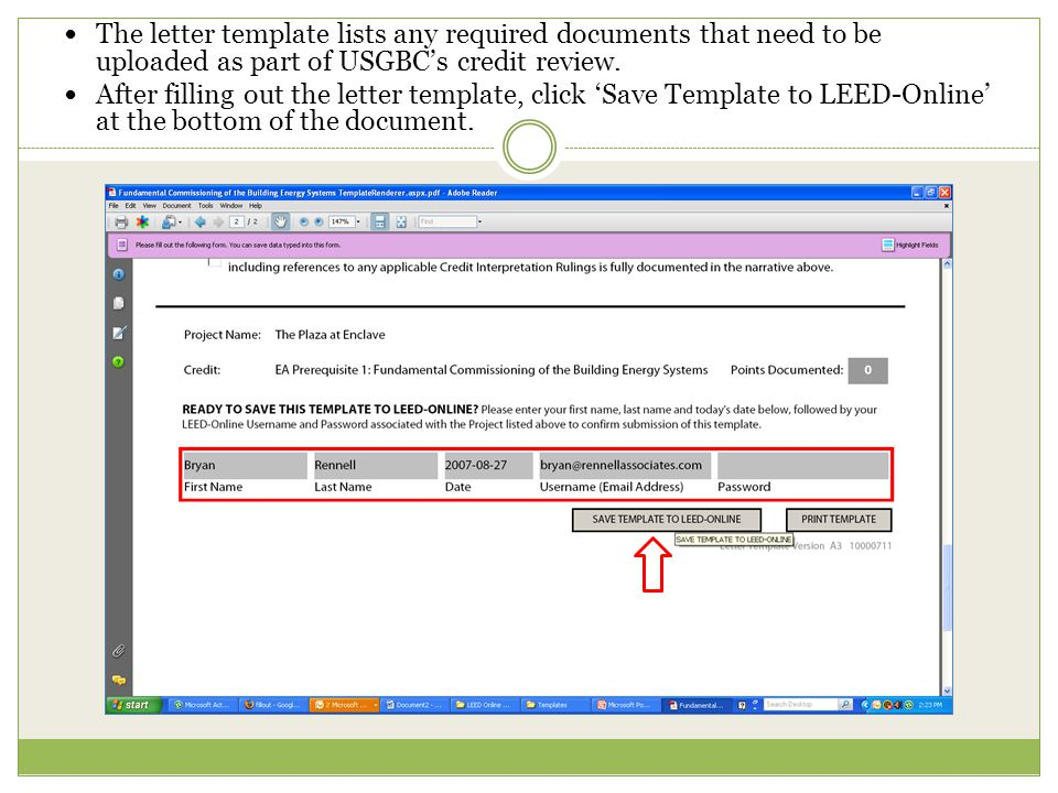 The letter template lists any required documents that need to be uploaded as part of USGBC's credit review.