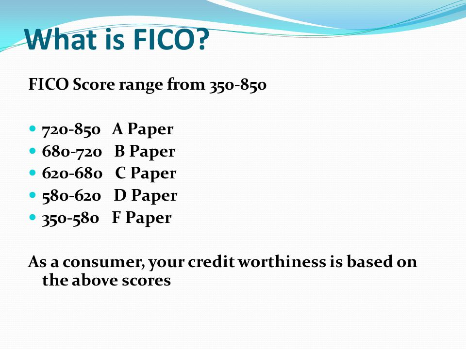 What is FICO FICO Score range from 350-850 720-850 A Paper