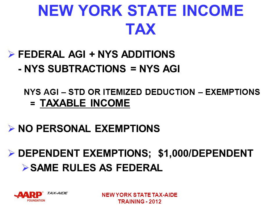 NEW YORK STATE INCOME TAX