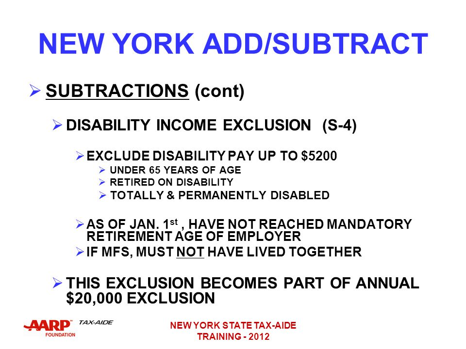 NEW YORK STATE TAX-AIDE TRAINING - 2012