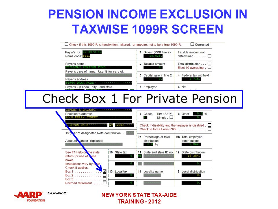 PENSION INCOME EXCLUSION IN TAXWISE 1099R SCREEN