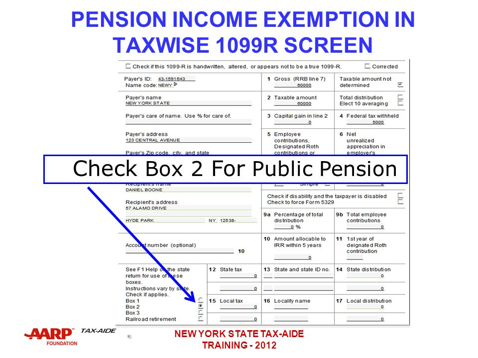 PENSION INCOME EXEMPTION IN TAXWISE 1099R SCREEN