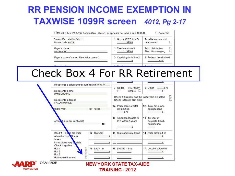 RR PENSION INCOME EXEMPTION IN TAXWISE 1099R screen 4012, Pg 2-17