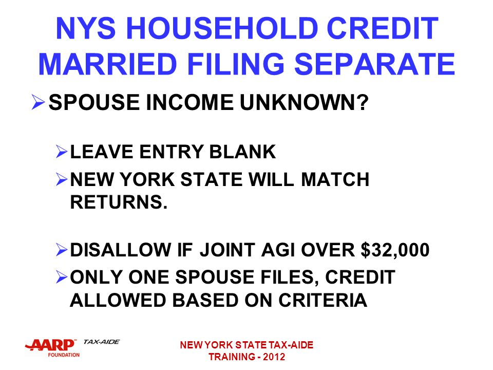 NYS HOUSEHOLD CREDIT MARRIED FILING SEPARATE