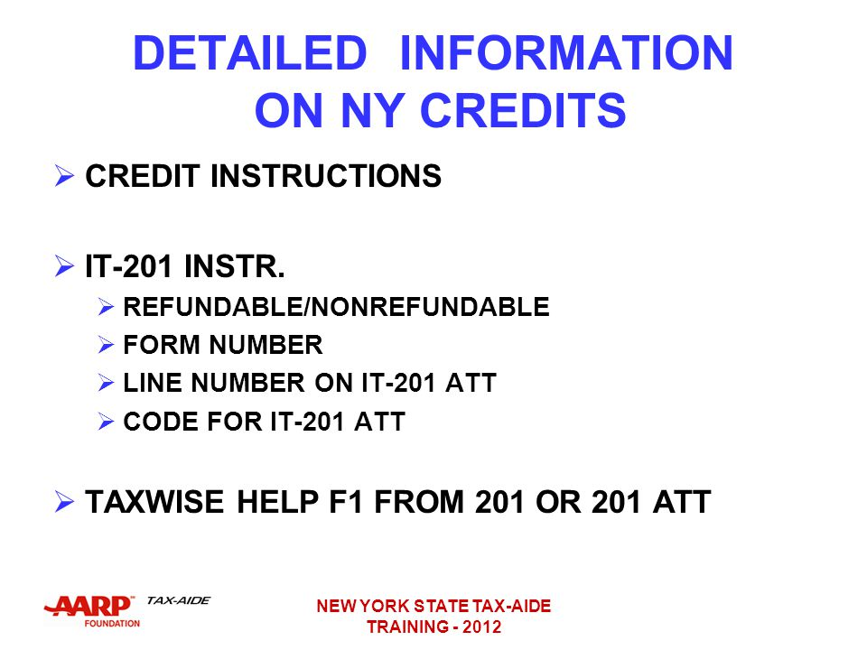 DETAILED INFORMATION ON NY CREDITS